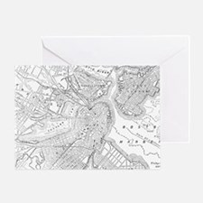 Vintage Map of Boston (1878)  Greeting Card