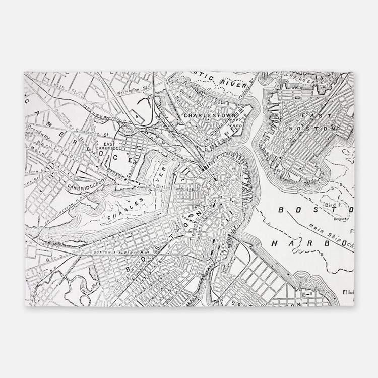 Vintage Map of Boston (1878)  5'x7'Area Rug