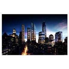City Skyline at Night Poster