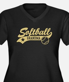 Softball Gra Women's Plus Size V-Neck Dark T-Shirt