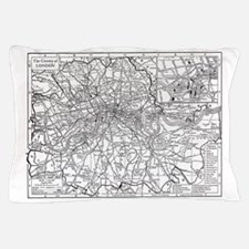 Vintage Map of London England (1911) Pillow Case
