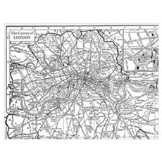 Vintage Map of London England (1911) Canvas Art