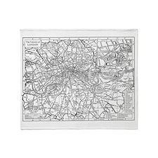 Vintage Map of London England (1911) Throw Blanket