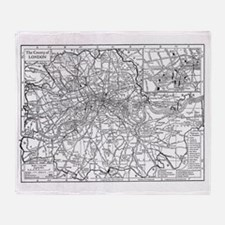 Vintage Map of London England (1911) Throw Blanket