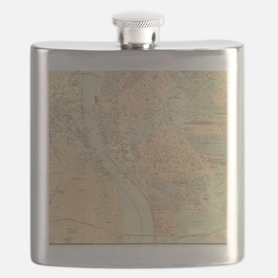 Vintage Map of Budapest Hungary (1884) Flask