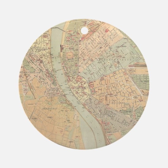 Vintage Map of Budapest Hungary (18 Round Ornament
