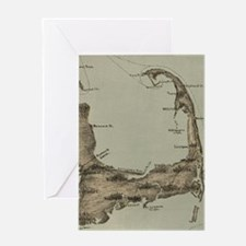 Vintage Map of Cape Cod (1885) Greeting Card