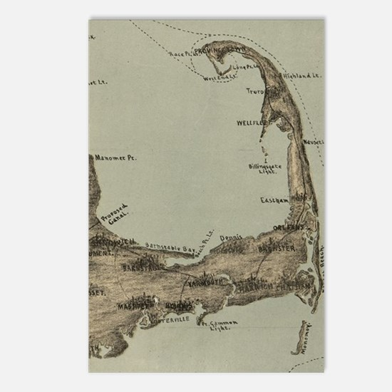 Vintage Map of Cape Cod ( Postcards (Package of 8)