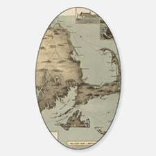 Vintage Map of Cape Cod (1885) Sticker (Oval)