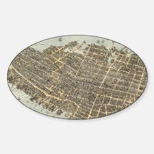 Vintage Pictorial Map of Charleston Sticker (Oval)