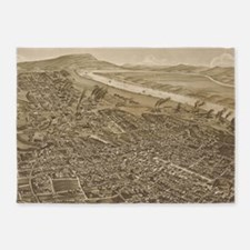 Vintage Pictorial Map of Chattanoog 5'x7'Area Rug