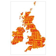 Typographic British Isles - Amber and Red Poster