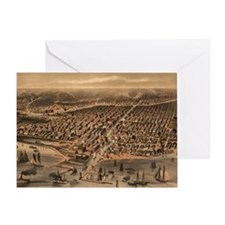 Vintage Pictorial Map of Chicago (18 Greeting Card