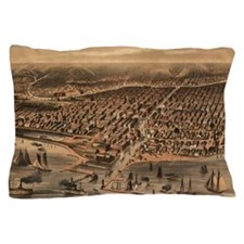 Vintage Pictorial Map of Chicago (1871 Pillow Case