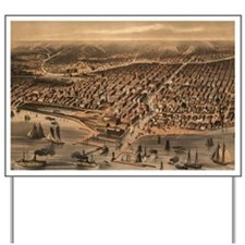 Vintage Pictorial Map of Chicago (1871)( Yard Sign