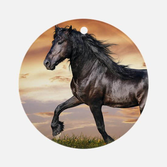 Beautiful Black Horse Ornament (Round)