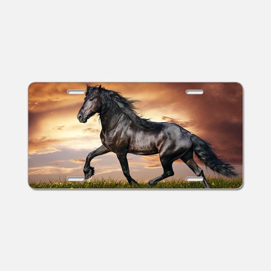 Beautiful Black Horse Aluminum License Plate