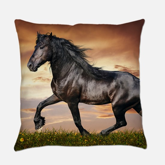 Beautiful Black Horse Everyday Pillow