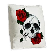 Skull And Roses Burlap Throw Pillow