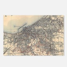 Vintage Map of Cleveland  Postcards (Package of 8)