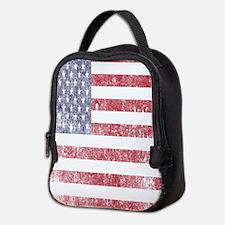 Worn American flag Neoprene Lunch Bag