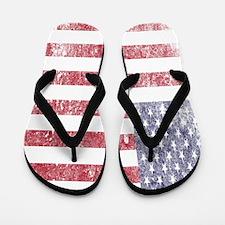 Worn American flag Flip Flops