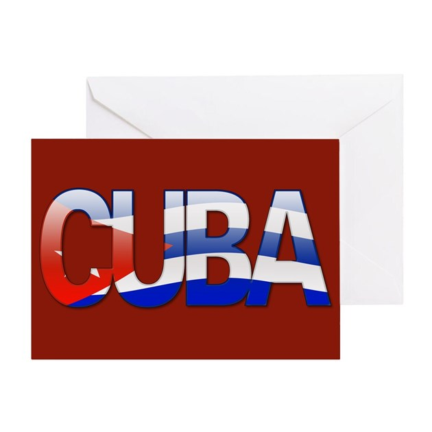 Cuba Bubble Letters Greeting Card By Thelaststraw