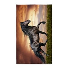 Beautiful Black Horse Area Rug