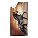 Beautiful black horse Beach Towels
