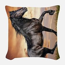 Beautiful Black Horse Woven Throw Pillow