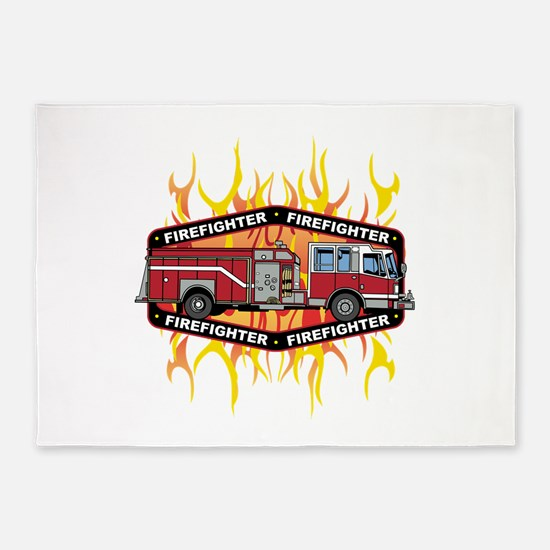 Fire Engine Truck 5'x7'Area Rug