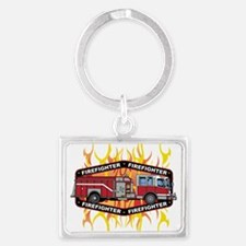 Fire Engine Truck Landscape Keychain
