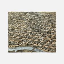 Vintage Pictorial Map of Dayton Ohio Throw Blanket