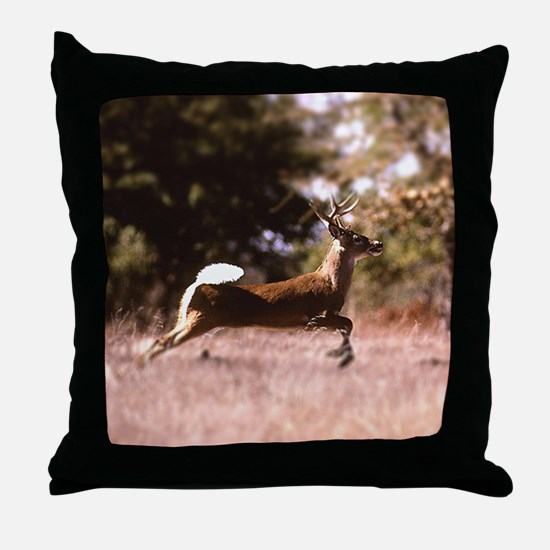 White-Tail Deer Running  Throw Pillow