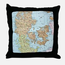 Vintage Map of Denmark (1905)  Throw Pillow