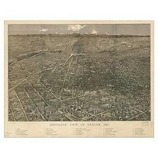 Vintage Pictorial Map of Denver Colorado (1887) Poster