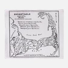 Vintage Map of Cape Cod (1890) Throw Blanket