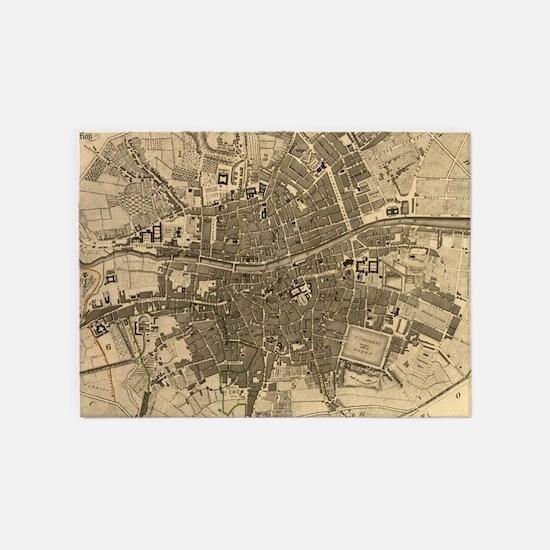 Vintage Map of Dublin Ireland (1797 5'x7'Area Rug