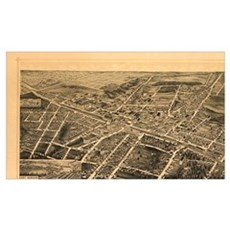Vintage Pictorial Map of Durham NC (1891) Canvas Art