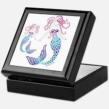 Funny Mermaid blue Keepsake Box