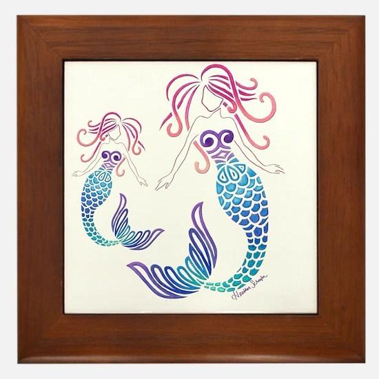 Cute Mermaid blue Framed Tile