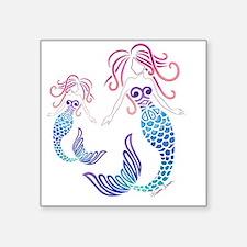 "Cute Mermaid blue Square Sticker 3"" x 3"""
