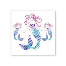 "Cute Mermaids Square Sticker 3"" x 3"""