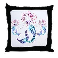 Cute Mermaid blue Throw Pillow