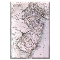 Vintage Map of New Jersey (1884) Canvas Art