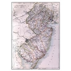 Vintage Map of New Jersey (1884) Poster