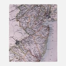 Vintage Map of New Jersey (1884) Throw Blanket