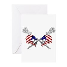 Two Lacrosse Helmets Greeting Cards