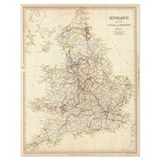 Vintage Map of England (1837) Poster
