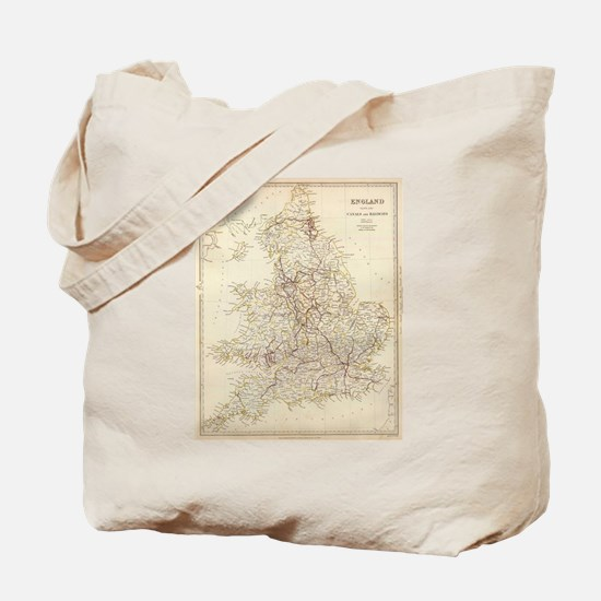 Vintage Map of England (1837) Tote Bag